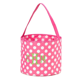 Easter Basket-Bucket - Pink with White Dots