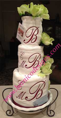 catalog towel cake preppy bridal shower with customized initials tc157 each