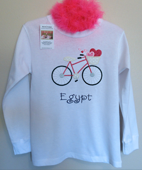 Tshirt - Valentine Girl Bicycle Personalized Custom Hearts