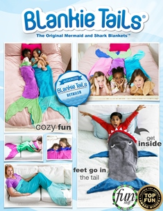 Blankie Tails - Kids through Adults - Blue Shark Blanket and Aqua, Pink, Purple or Green Mermaid Blankets
