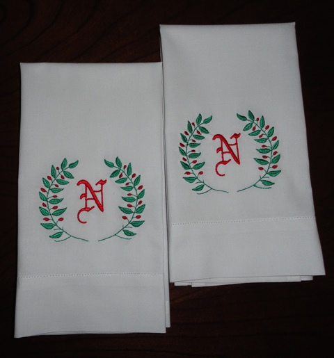 Personalized Embroidery Holiday Kitchen Towel / Napkins