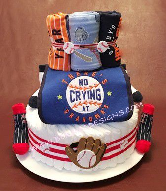 "Diaper Cake - ""Home Run Diaper Cake"" - Personalized Customized-#DC239"