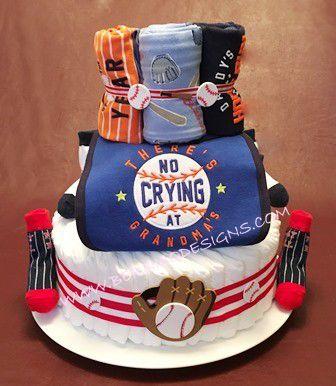 """Diaper Cake - """"Home Run Diaper Cake"""" - Personalized Customized-#DC239"""