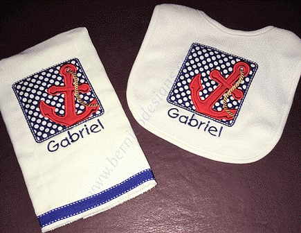 Bib - Nautical Bib and Burp Cloth Set for Baby Girl or Baby Boy - Personalized Custom-#BBC252