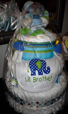 Diaper Cake - Elephant  Lil Brother or Lil Sister for Boy or Girl-#DC204