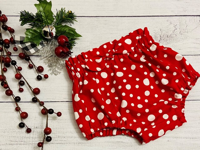 Bummie, Bloomers or Diaper Cover - Holiday Modern Girl -Red with White Dots-#Bum281