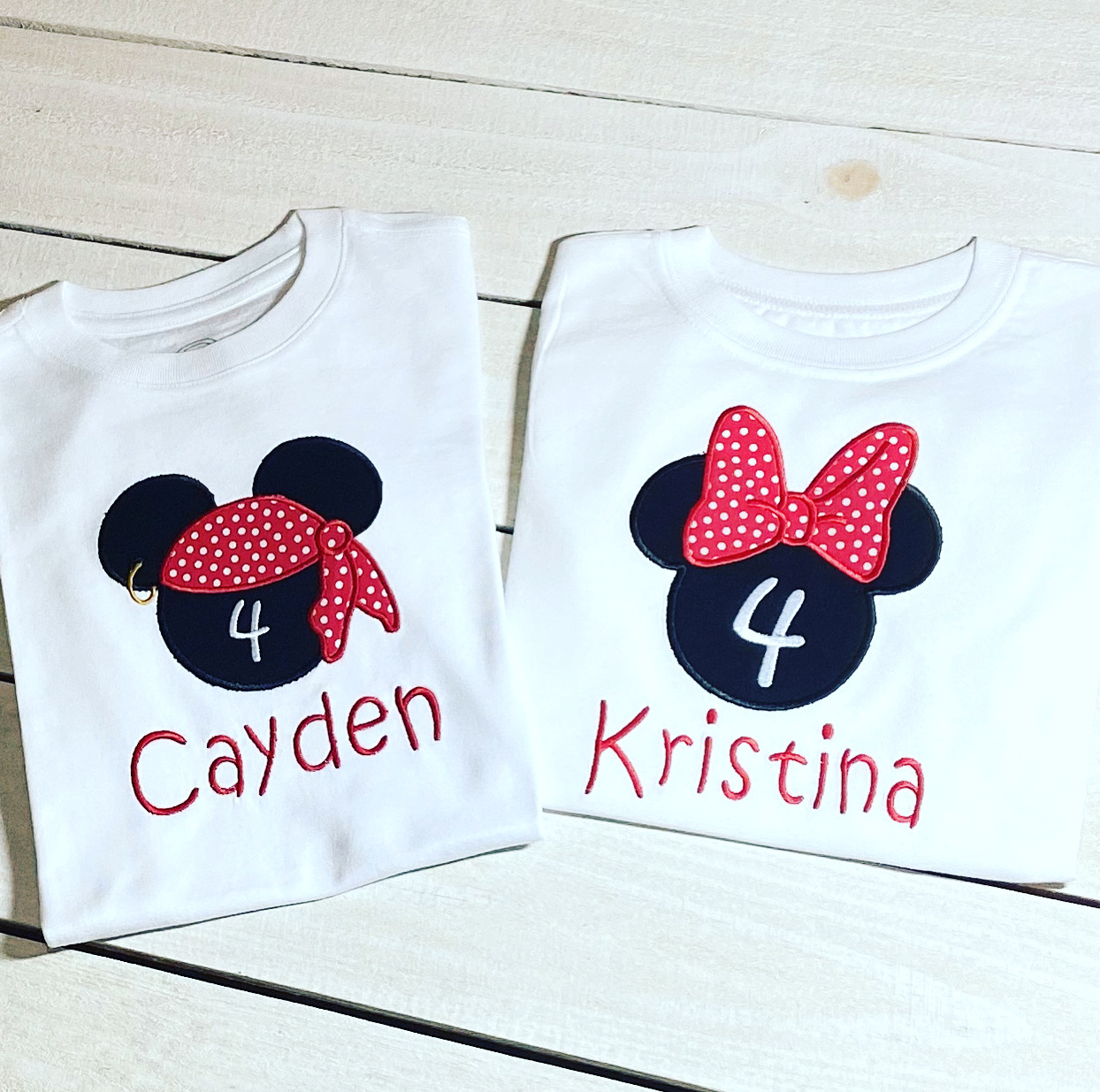 Birthday - Twin T-Shirt Minnie Christina and Mickey Cayden Set-#BDS267