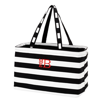 Preppy Black Personalize Monogrammed Ultimate Carry Tote-#UCT223