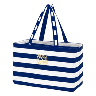 Preppy Navy Personalize Monogrammed Ultimate Carry Tote-#225