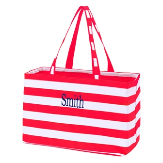 Preppy Red Personalize Monogrammed Ultimate Carry Tote-#UCT228